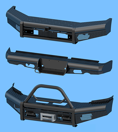 Renders of Tough As Your Truck Bumpers - Baja, Rear Pipe, and Bullnose